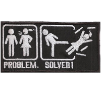 PROBLEM, SOLVED, No Women, Devorce, Rocker, Biker, Heavy Metal, Patch, Aufnäher