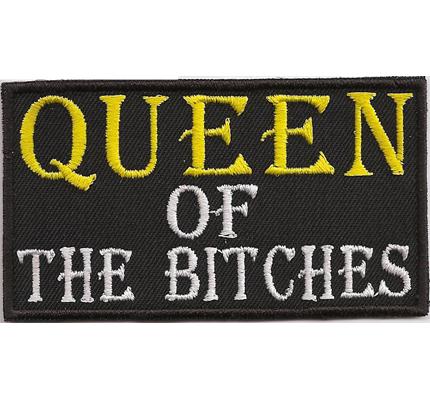 QUEEN of the BITCHES, Oldlady Biker Lady Girl women Rockerbraut Aufnäher Patch