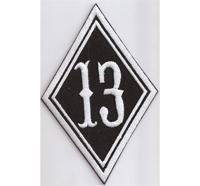 RAUTE 13 Diamant, Motorcycle Club Rangabzeichen Biker Aufnäher Patch Abzeichen