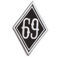 RAUTE 69 Diamant, Motorcycle Club Rangabzeichen Biker Aufnäher Patch Abzeichen