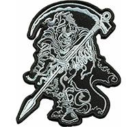 Sensenmann Reaper Death Metal Sense des Todes Biker Motorrad Patch Aufnäher
