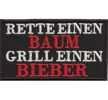RETTE einen Baum, Grill einen Bieber, Anti Greenpeace, Vegetaria, Biker, Aufnäher