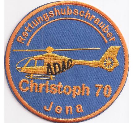 Rettungshubschrauber JENA ADAC Christoph70 Helikopter Luftrettung Aufnäher