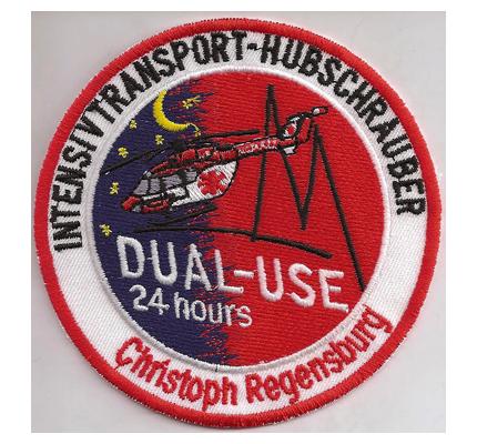 Rettungshubschrauber Christoph ADAC RTH DRF Dual Use Regensburg Aufnäher