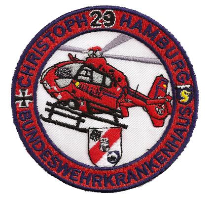 SAR71 Christoph29 Hamburg Bundeswehrkrankenhaus RTH Hubschrauber Aufnäher