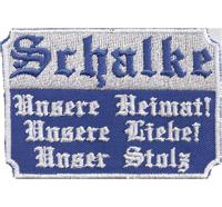 Schalke 04 Unsere Heimat Liebe Stolz, Ultras Fanclub Trikot Schal Aufnäher