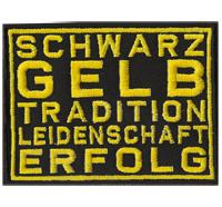 Schwarz GELB Tradition Leidenschaft Erfolg Borussia Fanclub Dortmund Aufnäher Patch