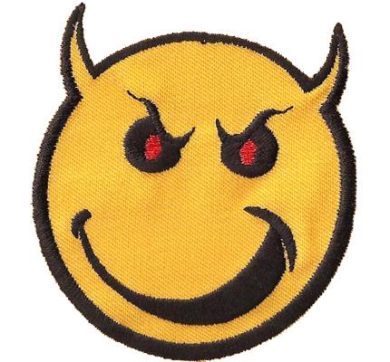 Smiley BadAss teufelchen Devil Emoticon Smile Aufnäher Patch Aufbügler