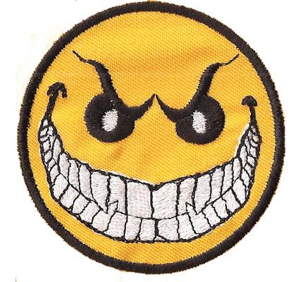 Smiley Bad Smile keep smiling emotikon Patch Aufbügler Aufnäher Sticker