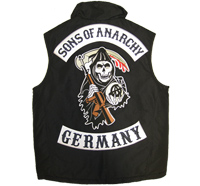 SONS of ANARCHY 3er SET XXL CENTER+Top+BOTTOM GERMANY Aufnäher Patch