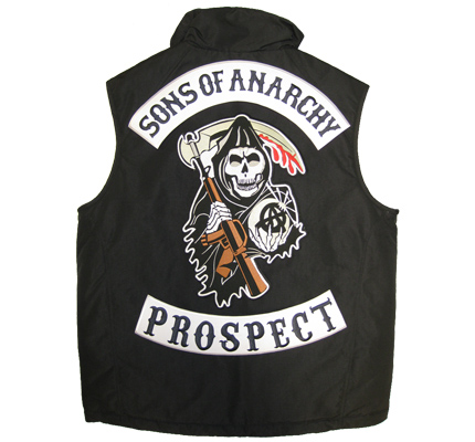 SONS of ANARCHY 3er SET XXL CENTER+Top+BOTTOM PROSPECT Aufnäher Patch