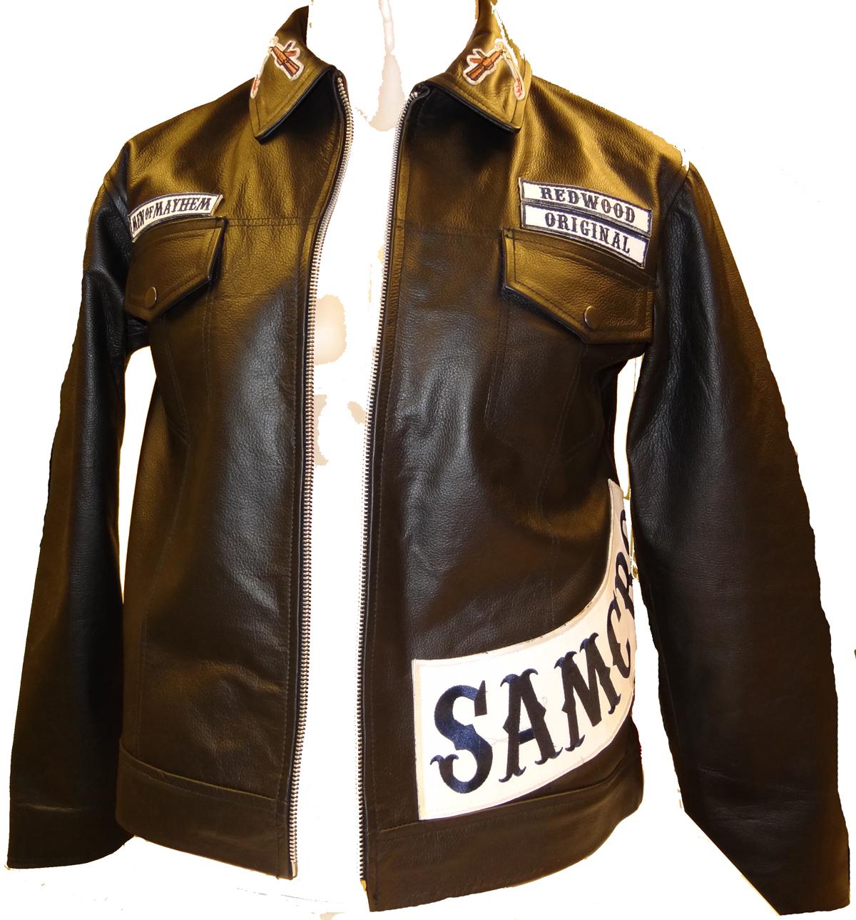 Sons of Anarchy LEDERJACKE Biker Leder Kutte SAMCRO JAcke Gr. XXL Aufnäher Patch