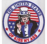 THE UNITED STATES, of KISS MY ASS, Unkle SAM, Mittelfinger Biker Rocker Patch Aufnäher