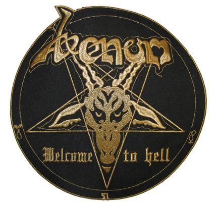 Venom XXL GOLD Backpatch Welcome to HELL Pentagram Black Metal Aufnäher