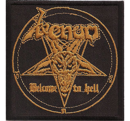 Venom GOLD Welcome to HELL Pentagram Black Heavy Metal Kutte Aufnäher
