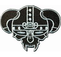 Viking Helmet Wikinger Hörner Kopf Biker Death Metal Kostüm Patch Aufnäher