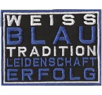 Weiss BLAU Tradition Leidenschaft Erfolg Schalke Fanclub 04 Aufnäher Patch Abzei