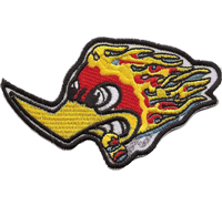 Fire Woody wood Pecker Racing Rockabilly Biker Motorrad Triker Aufnäher Patch