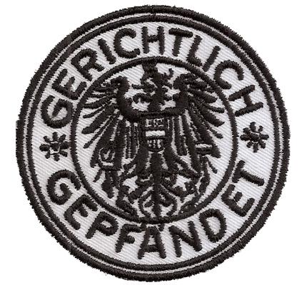 Gerichtlich gepfändet Kuckuck Staatseigentum Pfandhaus Plakette Aufnäher