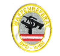 Polizei Waffenreferat Wien BPD, Wega, Cobra, Glock, Pistole, Aufnäher, Abzeichen