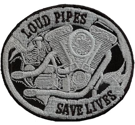 Loud Pipes save Lives, Harley Davidson Evolution Motorblock Biker Patch