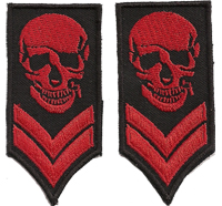 SKULL HEAD RANK, 2er SET, shoulder sleeve Rangabzeichen, Biker, Aufnäher Patches