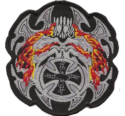 FLAMING IRON CROSS Hells, Flaming, Skullhead, Dark, Angels, Biker, Aufnäher