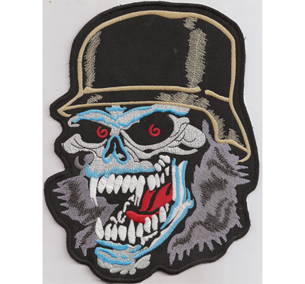 SKULLHEAD IRON CROSS Harley Davidson Motorcycle MC Chopper Backpatch Aufnäher