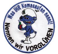 Schlümpfe Komma Saufen Vorglühen Hertha BSC Schalke HSV Biker Aufnäher