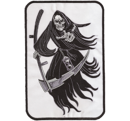 DEATHMANN Sensenmann DeathTrash Black Metal Biker Aufnäher XXL