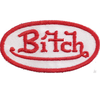 BITCH of Hells Skull Dark Riders red/white Biker, Lady no Angels, Aufnäher Patch