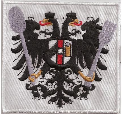 Österreich Staatswappen Austria Messer Gabel Kochjacke Gastro Aufbügler