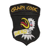 Crazy Cook Chicken Spicy Haubenkoch Kochjacke Abzeichen Patch Aufnäher