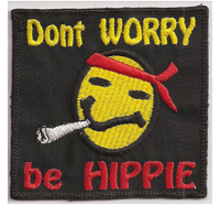 Smiley Don't worry, be HIPPIE Woodstock Joint Rockerbilly Aufnäher Patch