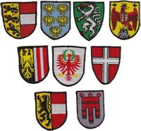 WIEN Bundesland Landeswappen Wappen Fahne Flag Aufbügler Abzeichen