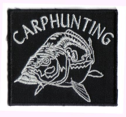 Carphunting black, fishing, fischen Angler Karpfen, Fischerei Aufnäher Patch