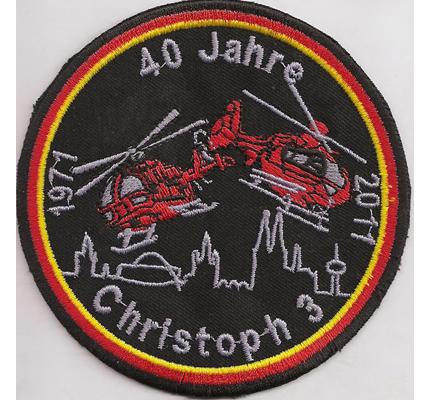 Helikopter RTS Christoph 3 40 Jahre Rettungshubschrauber HSM Aufnäher
