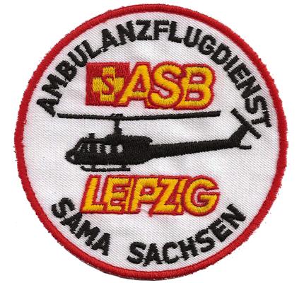 Helicopter Rettungshubschrauber ASB Leipzig Ambulanzflugdienst Aufnäher Patch