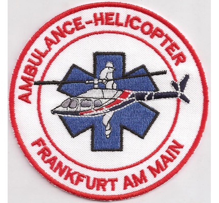 Ambulance Helicopter Helikopter RTH Frankfurt Luftrettung Aufnäher Patch