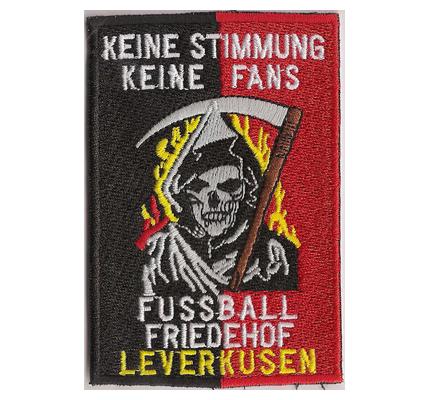 Fussballfriedhof ANTI Leverkusen Ultras Totenkopf Sensenmann Aufnäher