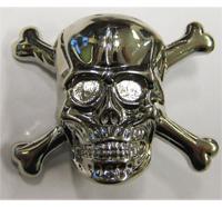 Bones Skull SILBER Totenkopf MC Biker Metall Plakette Anstecker Button Ansteckpin