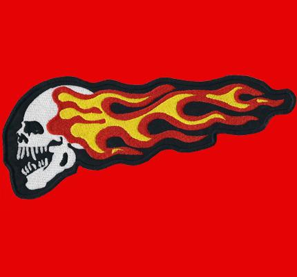 Hells Flame Skull BackPatch XXL Skullhead Dark Angels Aufnäher Totenkopf