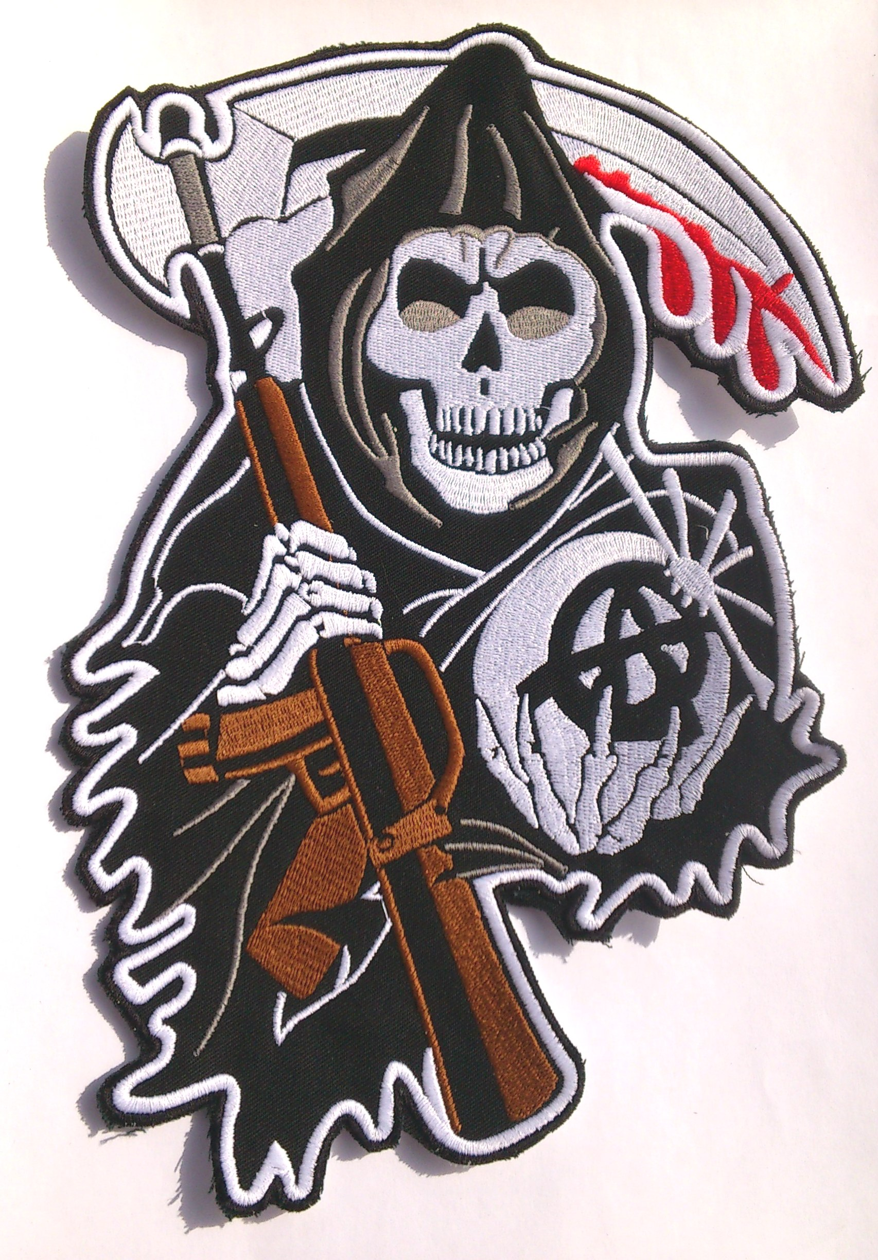 Sons of Anarchy Skull CENTER Backpatch SAMCRO redwood original Aufnäher XXL