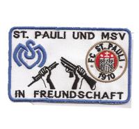 FC St. Pauli 1910 + MSV Duisburg  Freundschaft Einheit Aufnäher Patch